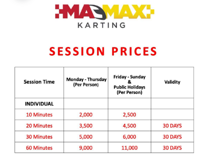 Two Rivers Go Karting Price List